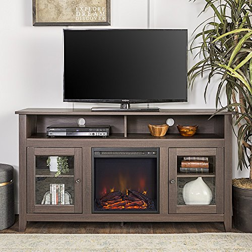 New 58 Inch Wide Highboy Fireplace Television Stand- Espresso Brown Finish