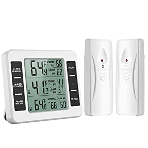 ORIA Refrigerator Thermometer, Wireless Digital Freezer Thermometer with 2 Wireless Sensors, Audible Alarm, Min/Max Record, LCD Display for Home, Restaurants, Bars, Cafes (Battery not Included)