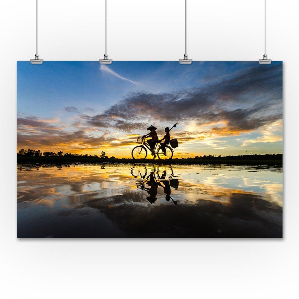 Riding Bike through Rice Patties 36x54 Giclee Gallery Print, Wall Decor Travel Poster