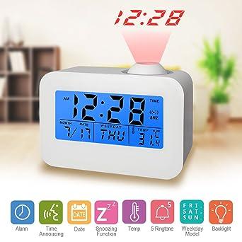 Digital Projektions Projektionsuhr Wecker Uhr mit Projektion Projektor Temp Weiß