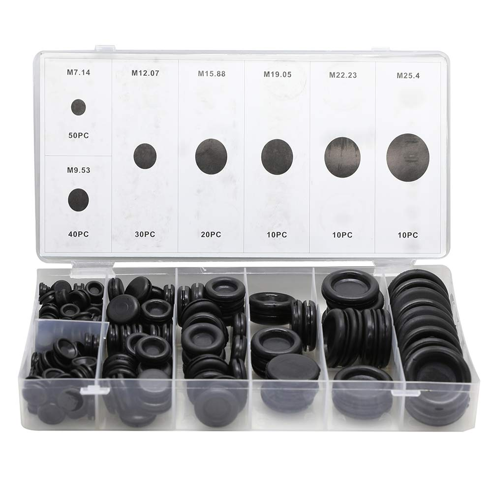 170PCS 7 Sizes Rubber Grommets Assortment Rubber Gasket Kit Wiring Coil Wire Gasket Firewall Hole Plug Kit Set Electrical Wire Gasket Kit