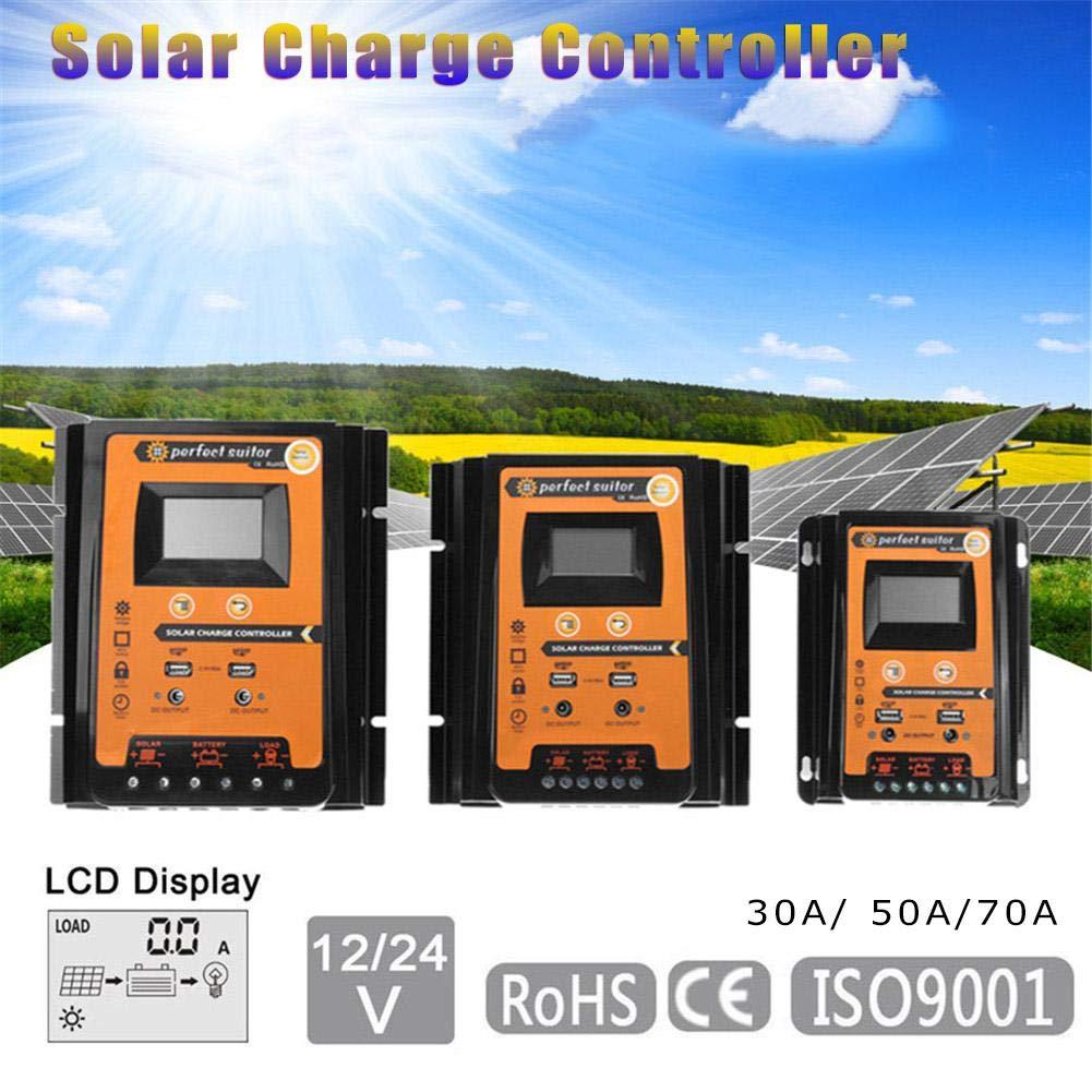 iBaste-ES Panel Solar 12V / 24V 30A 50A 70A MPPT Controlador de Carga Solar Pantalla LCD con Manual de Usuario Panel Solar Regulador de baterí a Dual USB