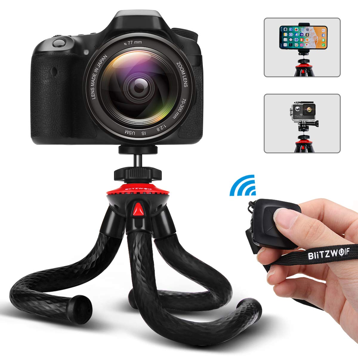 Camera Tripod, BlitzWolf Flexible Tripod, Phone Tripod with Bluetooth Remote & Phone Holder for iPhone Xs Max, Samsung, with 1/4'' Screw & Adapter for Camera, Action Camera, DSLR Sony Nikon Canon by BlitzWolf