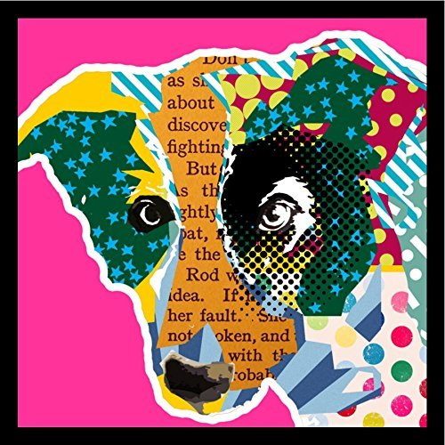 Buyartforless Framed Border Collie Pop Art Pink by Claudia Schoen 36x36 Art Print Poster Colorful Textual Pop Art Dog Collage Border Collie