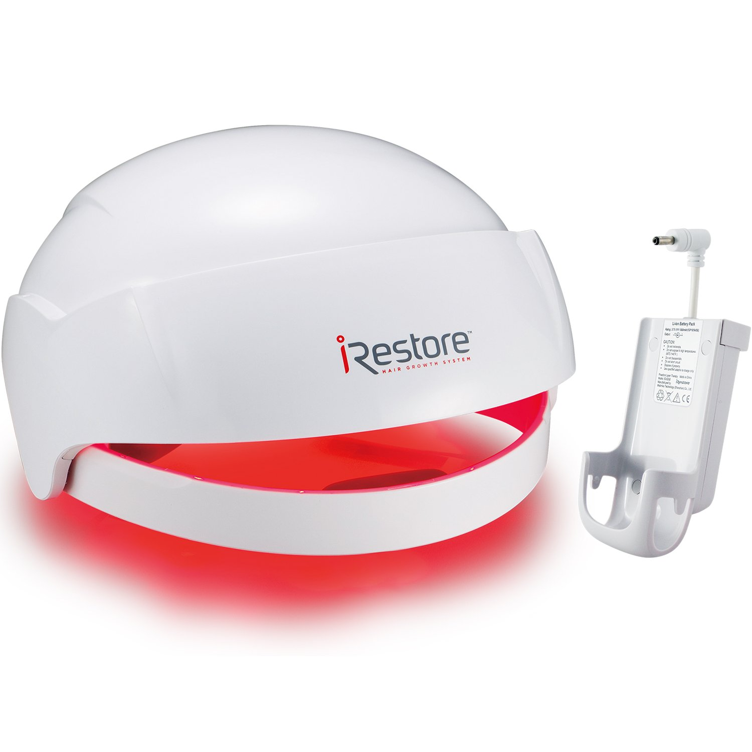 iRestore Laser Hair Growth System + Rechargeable Battery Pack - FDA-Cleared Hair Loss Product - Treats Thinning Hair for Men & Women - Laser Hair Therapy Restores Hair Thickness, Volume, Density by iRestore