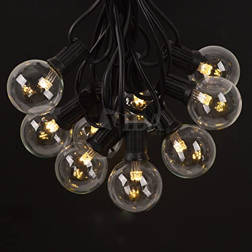 Vidagoods 50 Ft Outdoor Light Garden Backyard Market Xmas Holiday Patio Party Globe String Lights with 50 Base Sockets 55 Clear Bulb Set LED- G50-50 Socket, Black Warm White LED Stick