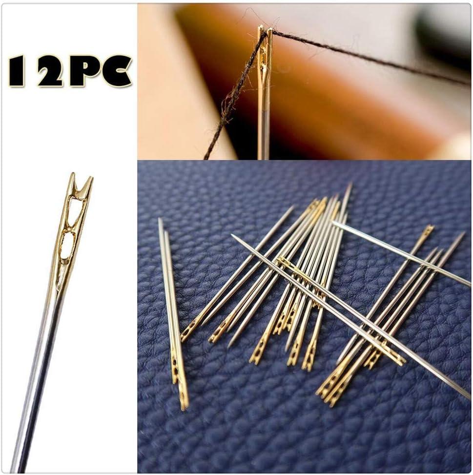 Wooden Needle Case and 2pcs Adjustable Thimbles Different Sizes SelfTek 24pcs Self Threading Sewing Needles Blind Needles with 25pcs Big Eye Stitching Needles