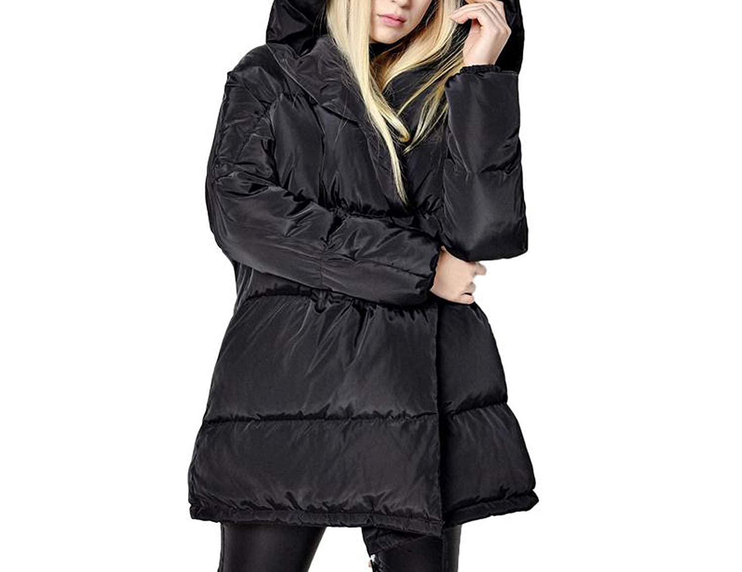 Winter Jackets Women 90% White Duck Down Parkas Loose Coats Medium Long Warm Snow Outwear,Black,M,C