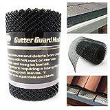 Gutter Guard Mesh 16 Ft X 6In Black Plastic 5'' & 6'' Gutters Cover Easy Install