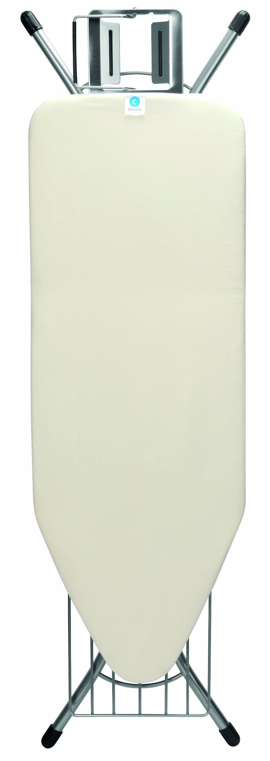 Brabantia Ironing Board with Steam Iron Rest and Linen Rack, Size C, Wide - Ecru Cover by Brabantia