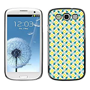PC/Aluminum Funda Carcasa protectora para Samsung Galaxy S3 I9300 Yellow Teal Square Design / JUSTGO PHONE PROTECTOR