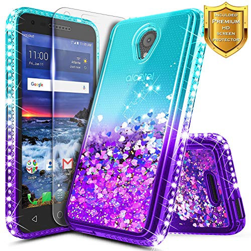 Alcatel IdealXcite Case, Verso/Raven LTE (A574BL) /CameoX (4G LTE) /U50 (5044R) with Screen Protector for Girls Kids Women, NageBee Glitter Liquid Bling Floating Waterfall Cute Case -Aqua/Purple