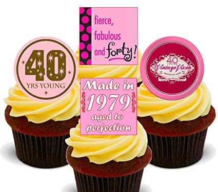 40th Birthday Female Funny Edible Cupcake Toppers