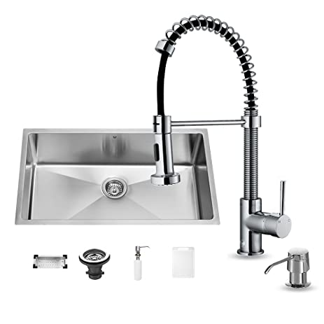 VIGO 32 Inch Undermount Single Bowl 16 Gauge Stainless Steel Kitchen Sink  With Edison Chrome Faucet