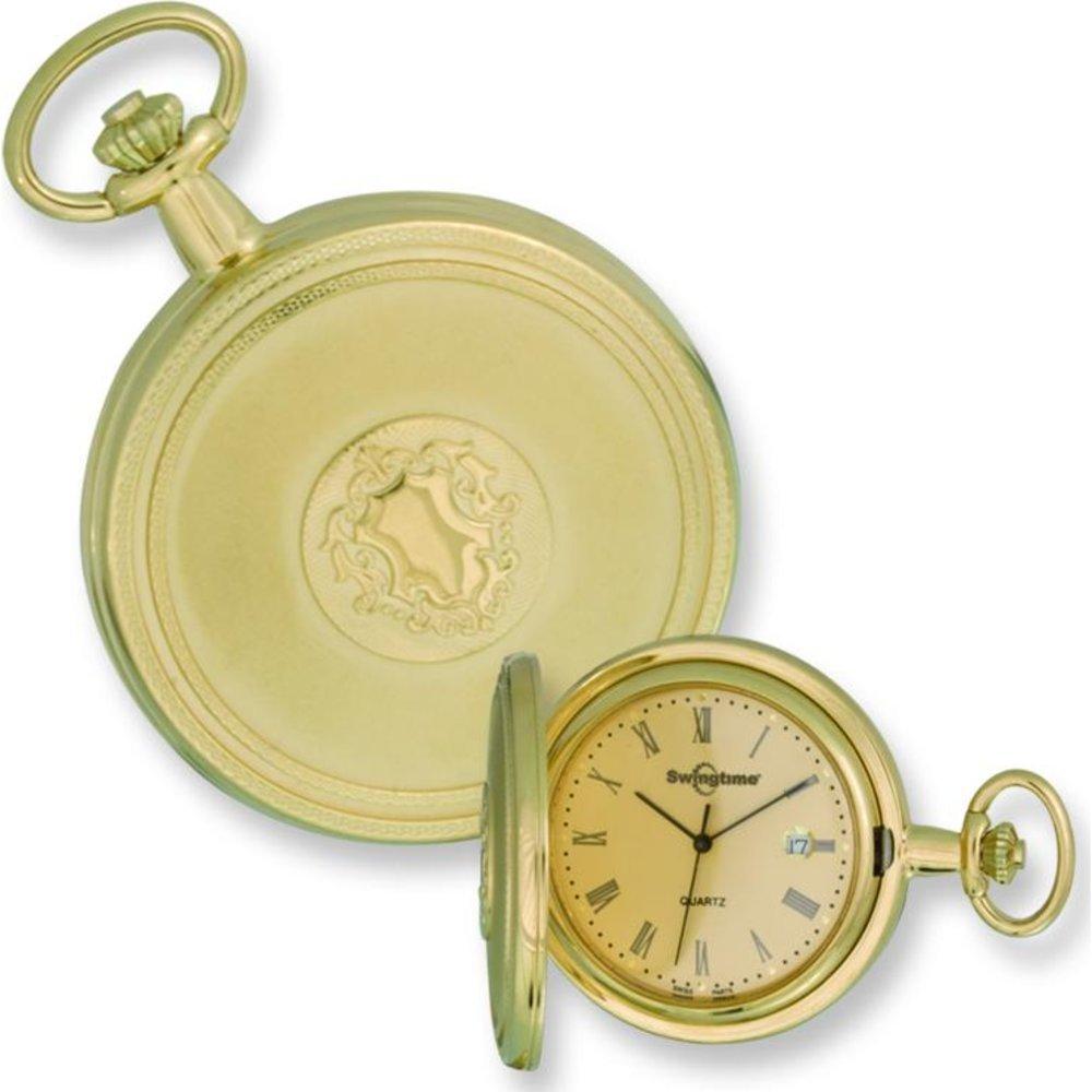 Swingtime Gold Plated Brass Pocket Watch & Chain