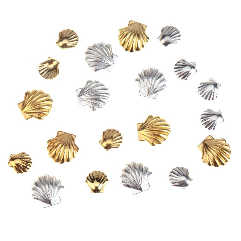 Fantastic Sparkly High Quality Professional Nail Art 3D Decorations / Accessories Set Kit With 20pcs Gold And Silver Coloured 3mm And 5mm Sea Shells Forms / Designs Studs By VAGA®