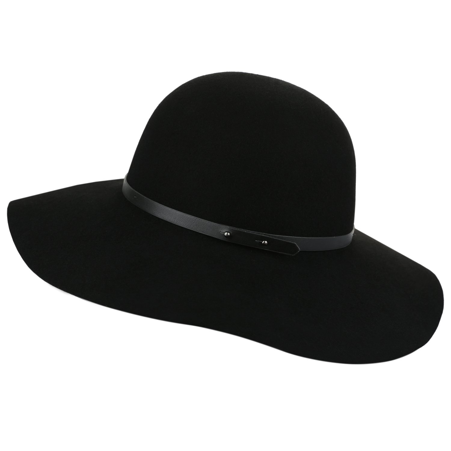 Sedancasesa Wide Brimmed 100% Wool Felt Floppy Hat Vintage Women Warm Triby Hats (Black)