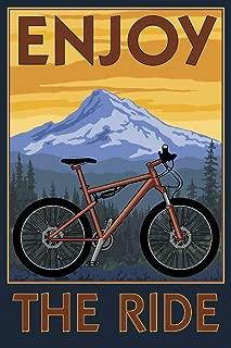 product image for Enjoy the Ride - Mountain Bike Scene (9x12 Art Print, Wall Decor Travel Poster)