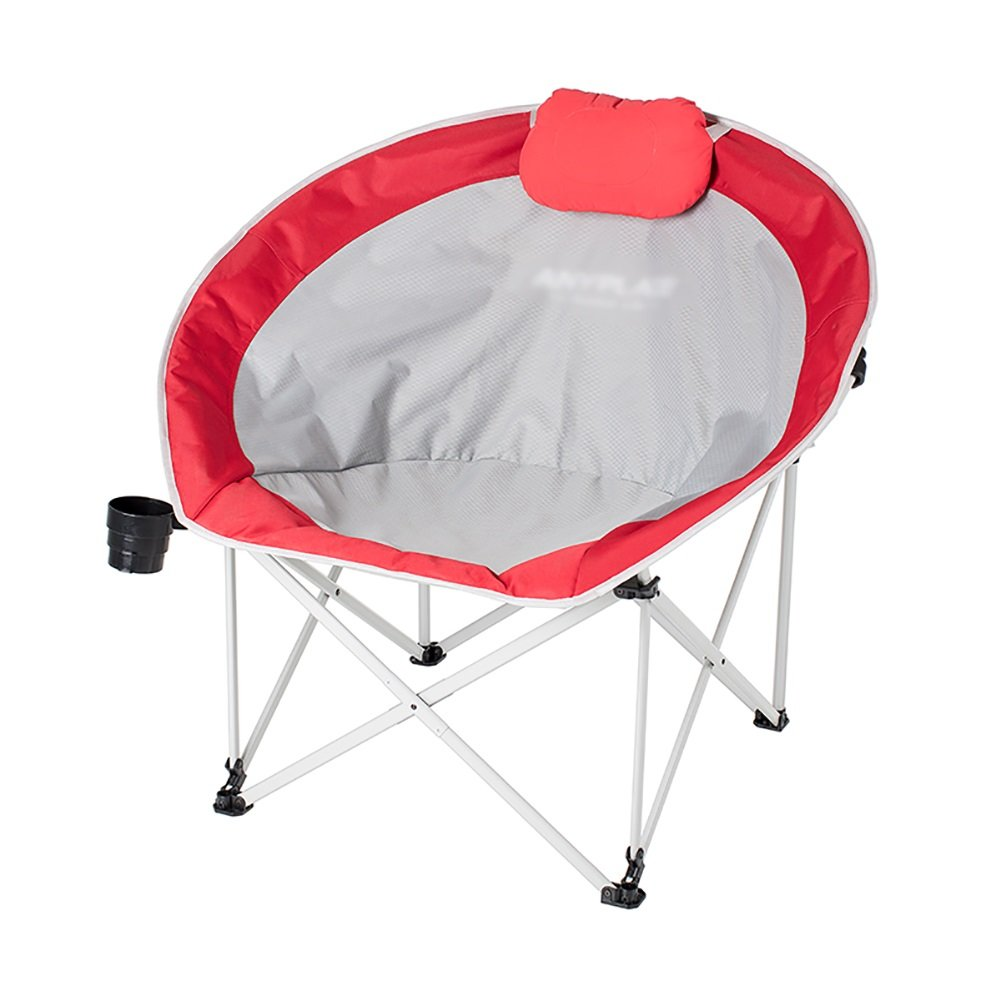 WSSF- 軽量ムーンキャンプチェア家庭用パティオ折りたたみ怠惰なランチブレイクリクライナー屋外ポータブルガーデンビーチ釣りチェア B07DHN18TF Red Red