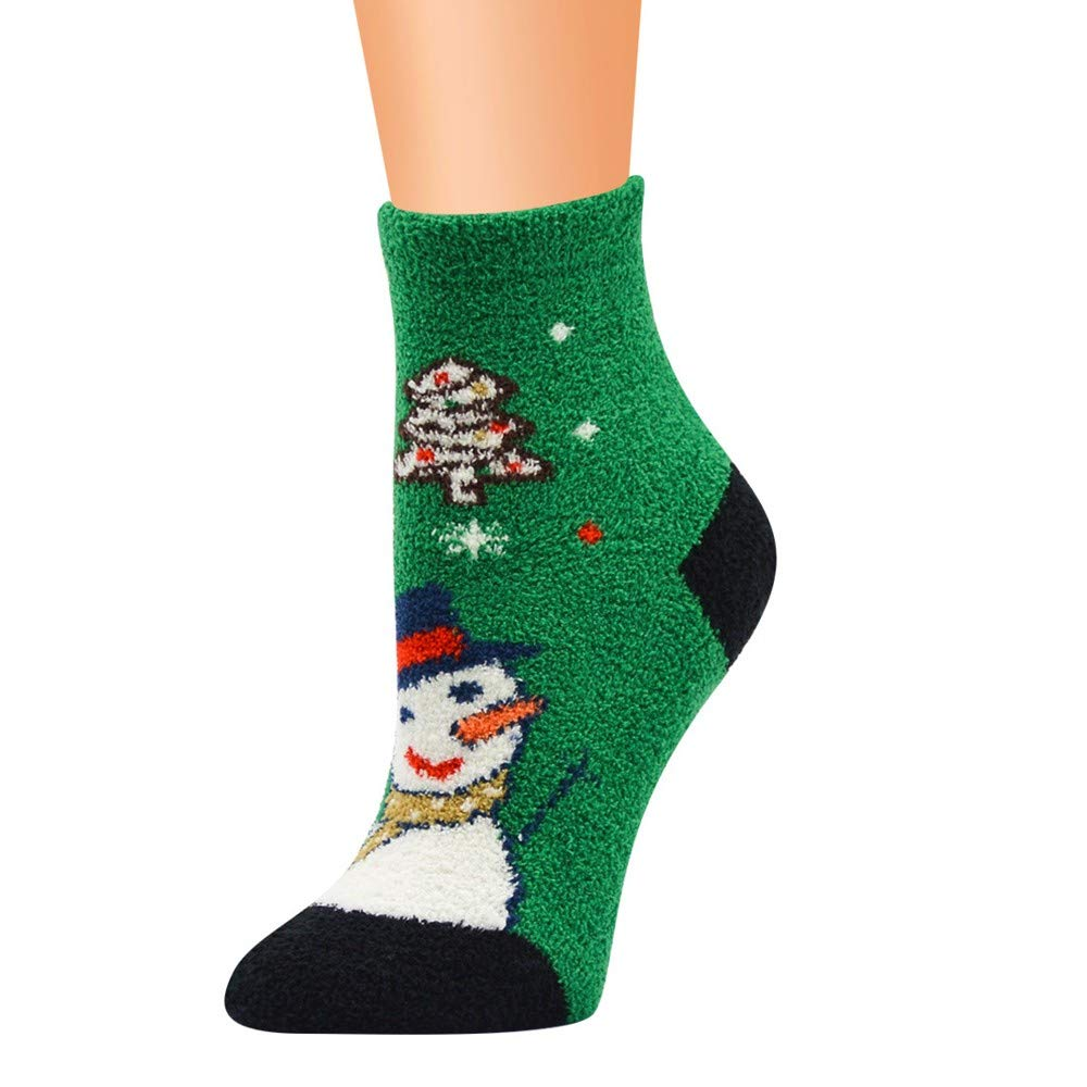 One Size,BK Hot Sale!Christmas Printed Socks,Casual Work Business Socks Christmas Printing Coral Fleece Medium Sports Socks