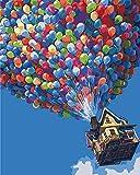 Anself DIY Ölgemälde Malen nach Zahlen Kits 40x50cm ohne Rahmen Ballon Fliegen Haus