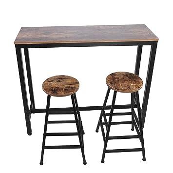Tremendous Amazon Com Pocreation Vintage 3 Piece Pub Table Set Machost Co Dining Chair Design Ideas Machostcouk