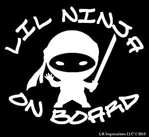 UR Impressions Lil Ninja on Board Decal Vinyl Sticker Graphics for Cars Trucks SUV Vans Walls Windows Laptop|White|5.5 X 4.9 Inch|URI686