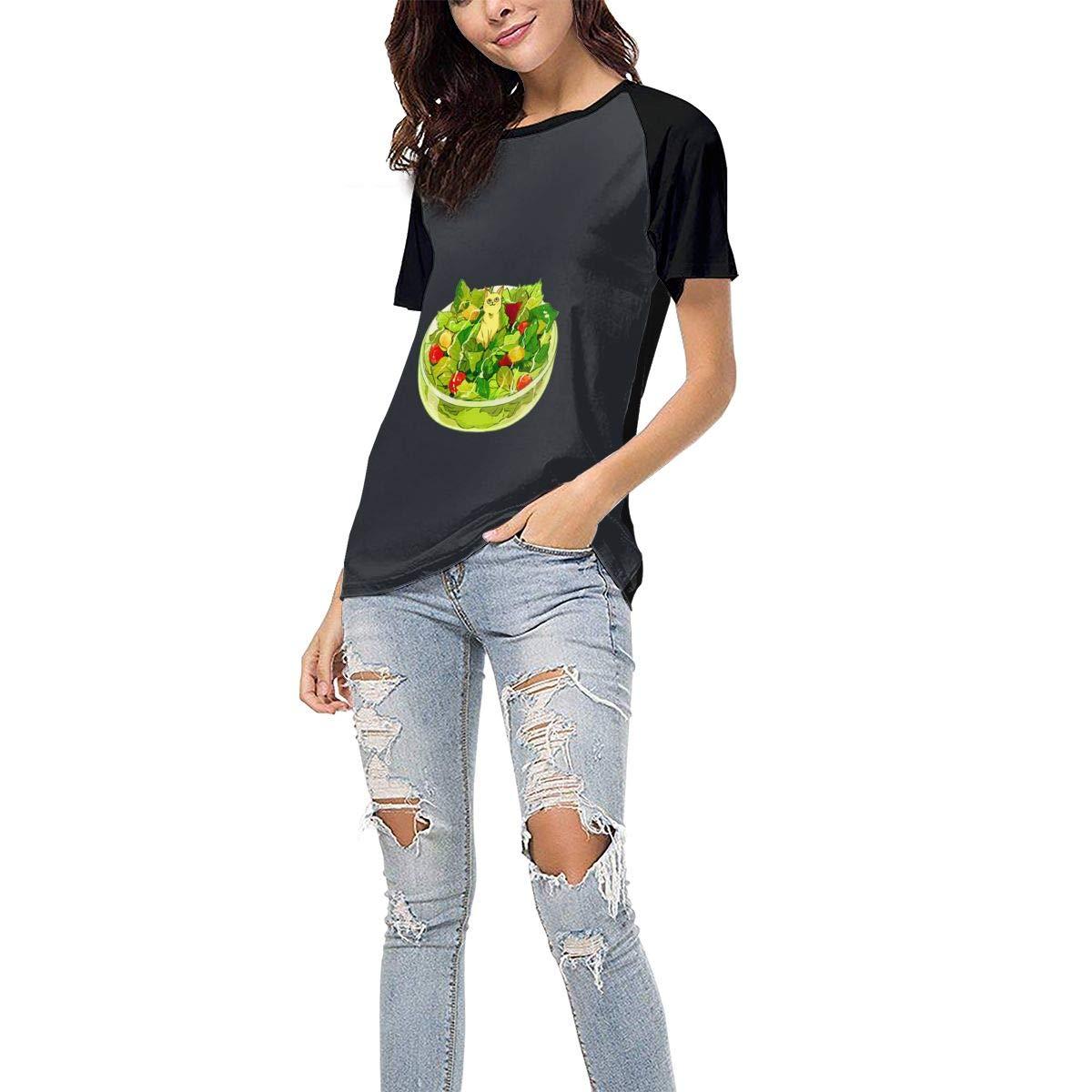 QWXZC Salad Womens Short Sleeves Baseball Tee Casual Raglan Shirt Baseball Raglan T-Shirt.Black.