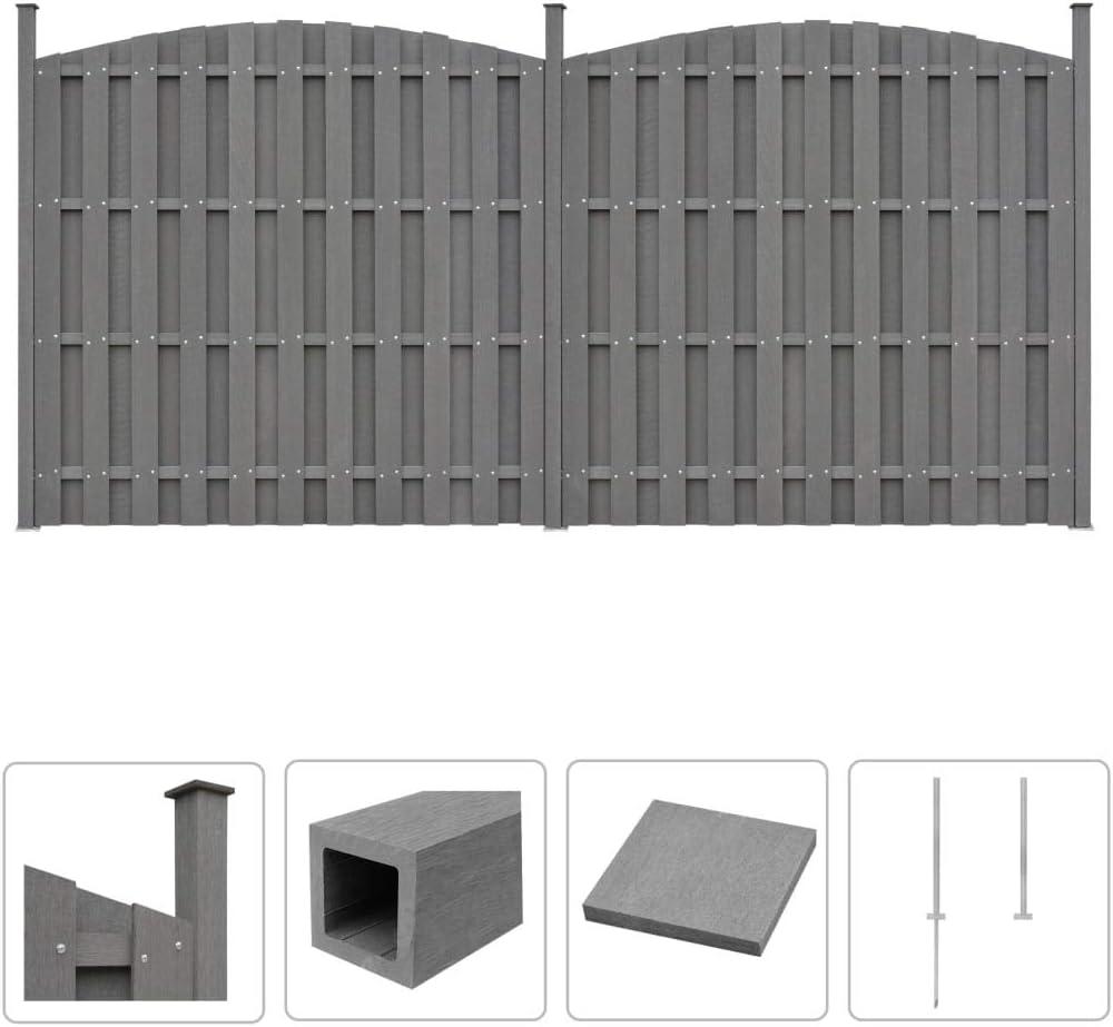 Festnight Wpc Zaun Set 2 Geschwungen Zaun Sichtschutz Gartenzaun