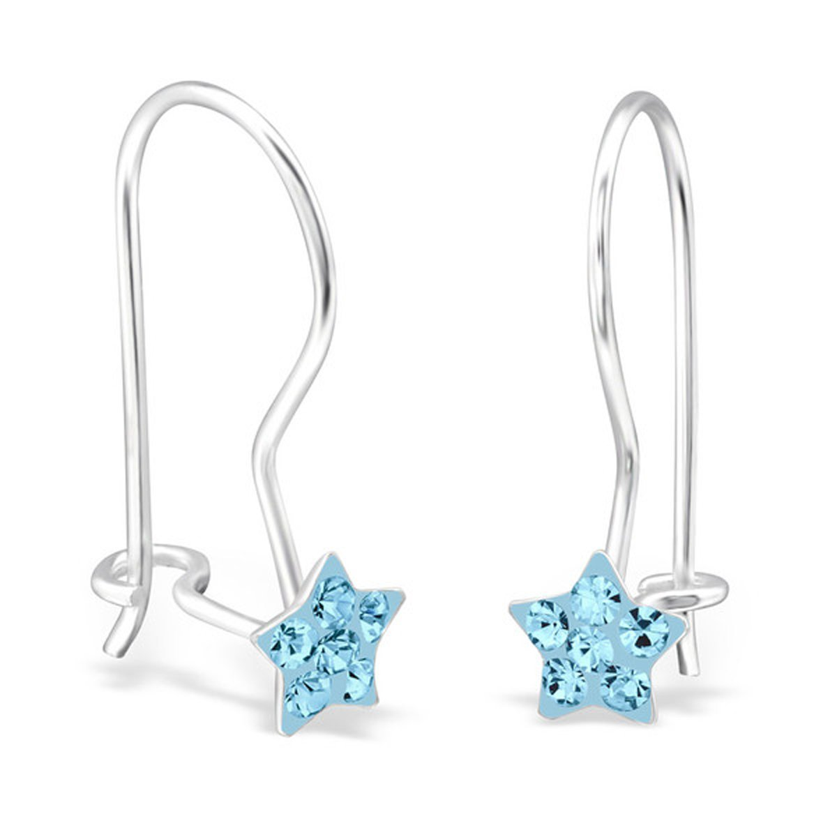 Cute Star Crystals Earrings Tiny Small Girls 925 Sterling Silver Nickle Free (E28668) (Aquamarine)