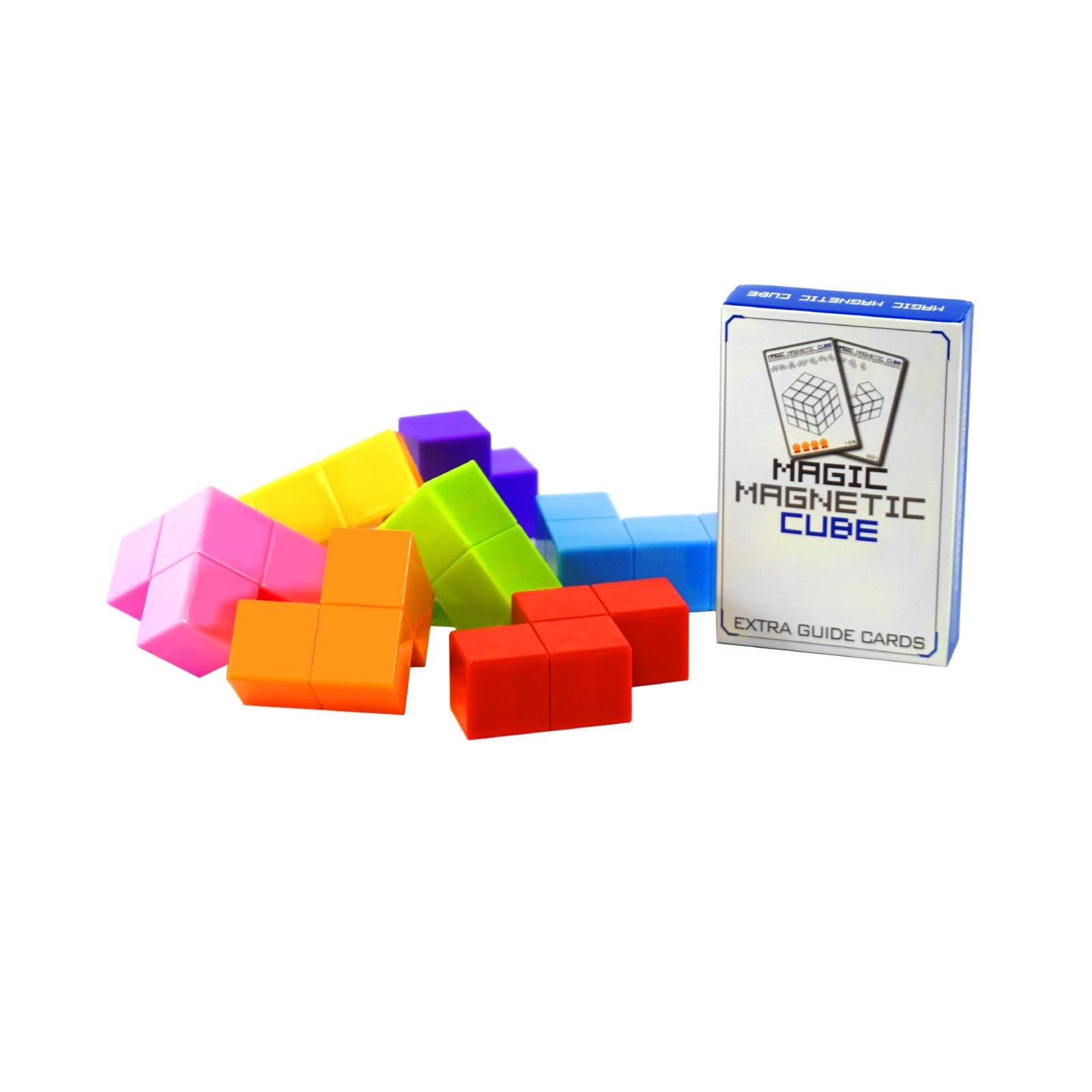 3D Cube Puzzle Game For Kids Brain Teaser Magnet Blocks 7 PCS Plus 54 Guide Cards