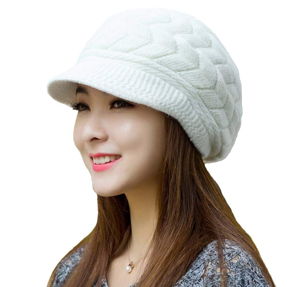 Womens Winter Warm Knitted Hats Slouchy Wool Beanies For Women Hat Cap With Visor