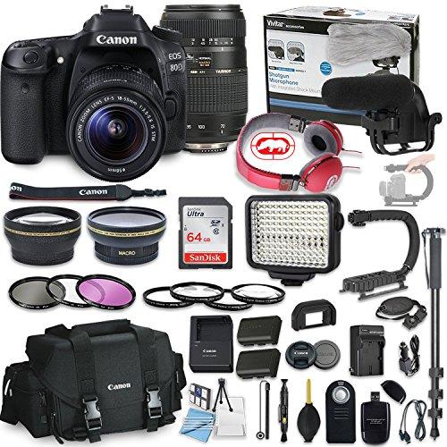 Canon EOS 80D DSLR Camera Bundle with Canon EF-S 18-55mm STM Lens & Tamron 70-300mm Di LD Zoom Lens + Professional Video Accessory Bundle Includes ECKO Headphones, Microphone, LED Light and More.
