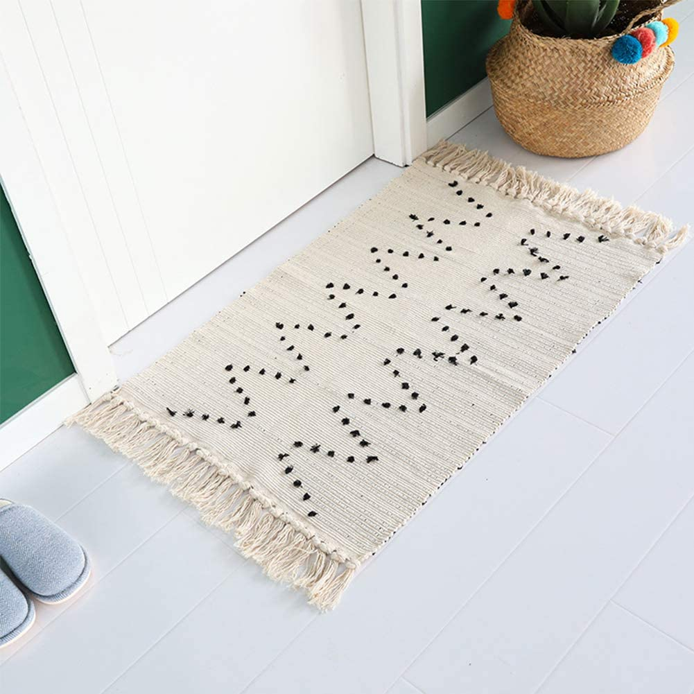 Tassels Boho Rug Runner - Moroccan Rug 2' x 3' Cotton Woven Throw Small Chindic Rag Rug | Beige with Black Geometric Decorative Rugs | for Entryway Indoor Bathroom Bedroom Living Room Laundry Room