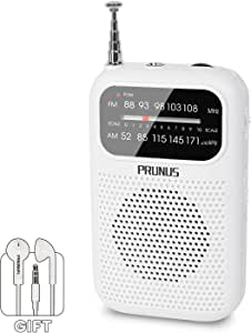 PRUNUS J-777 AM/FM Portable Transistor Radio Mini Pocket Radio with Earphones, AAA Battery Operated(White)