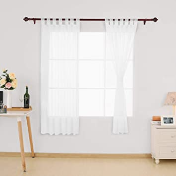 Deconovo Vorhang Transparent Gardinen Transparent Schlaufenschal Transparent 175x140 Cm Weiss 2er Set