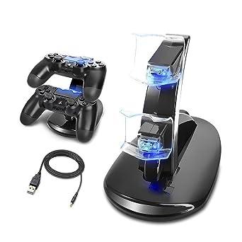 MINLUK Cargador Mando PS4 Soporte PS4 Doble USB de Carga con ...