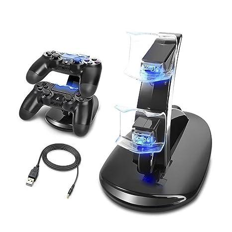 MINLUK Cargador Mando PS4 Soporte PS4 Doble USB de Carga con el ...