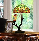 Makenier Vintage Tiffany Style Stained Glass Green Dragonfly + Red Parrot Table Lamp