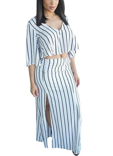 BIRAN Mujer Conjuntos De Crop Top Y Falda Larga Verano Elegantes Rayas Media Manga V Cuello