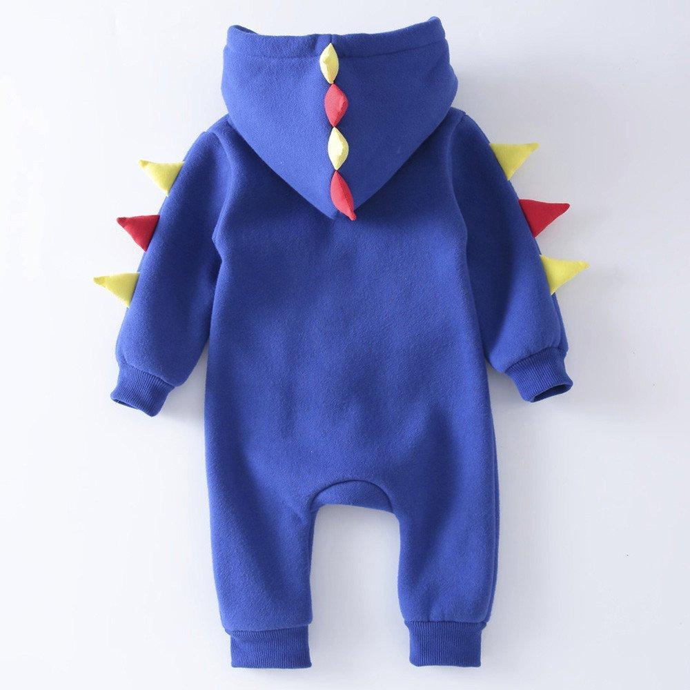 YanHoo Ropa Recién Nacidos Ropa de Dinosaurio para bebés recién Nacidos Trajes de Mono cálido Bebé Dinosaurio con Capucha Cremallera suéter Mono Mameluco ...