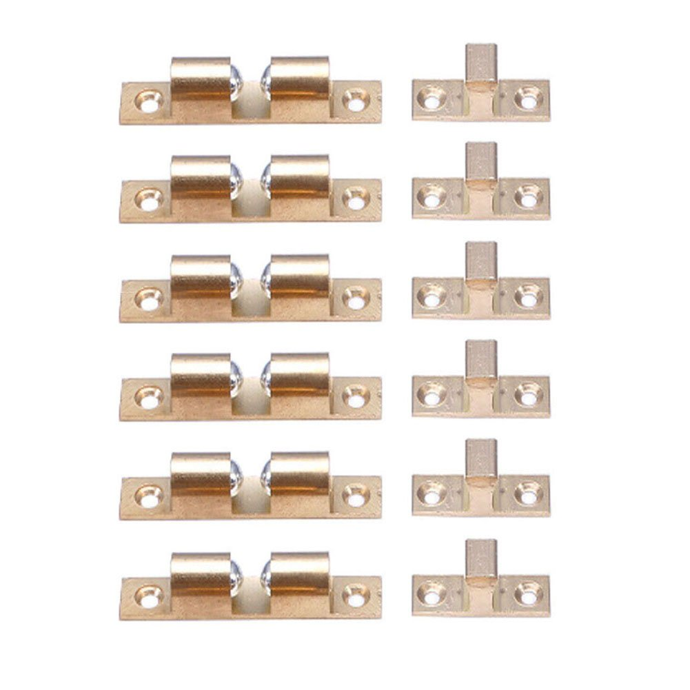Welldoit Cabinet & Door Double Ball Roller Catch Latch Cabinet Hardware Fittings 6 Pcs (50mm/1.96'')