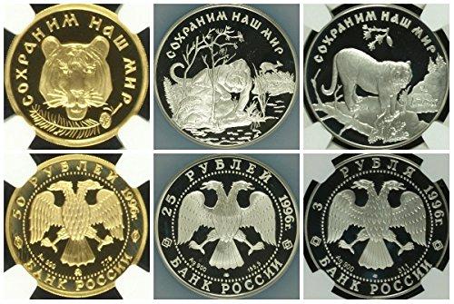 RU 1996 Russia 1996 Set 3 Gold Silver Coins Wildlife Amur PF 67,68 Ultra Cameo