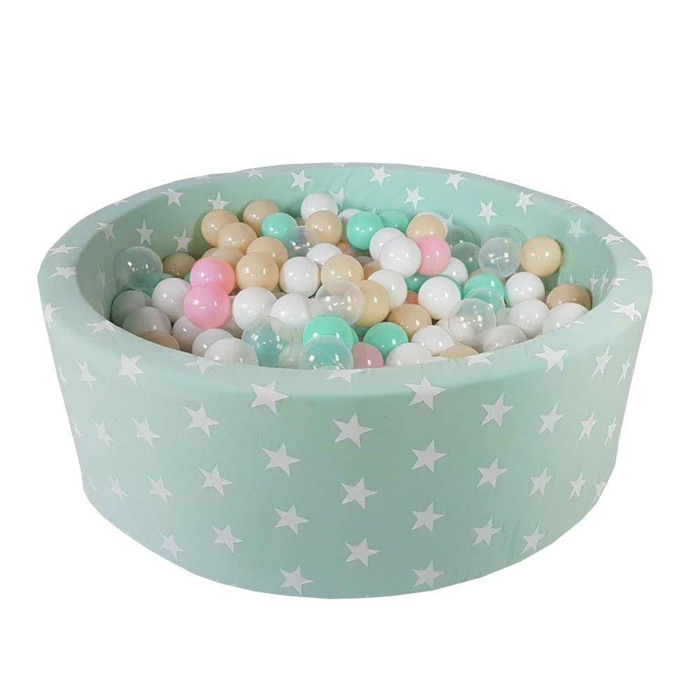 MeowBaby Piscine A Balles Étoiles Enfants Rond 90X30 + 200 Balles Fabriqué en UE, Gris Clair: Nacré/Rose Clair/Transparent
