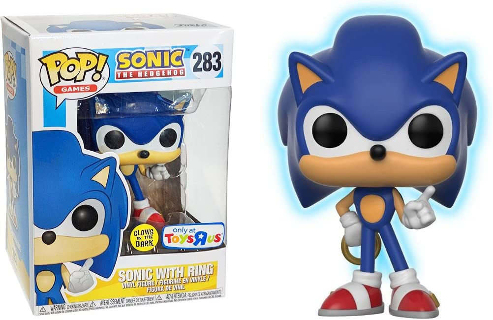 Amazon Com Funko Sonic W Ring Glow In Dark Toys R Us Exclusive Sonic The Hedgehog X Pop Games Vinyl Figure 1 Pop Compatible Pet Plastic Graphical Protector Bundle 283 26572 B