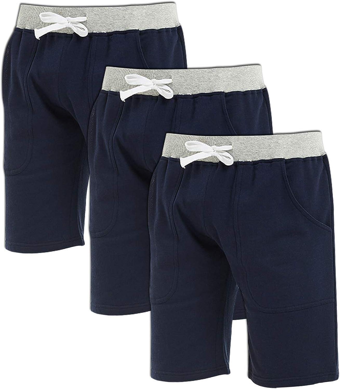 Godsen Men's Cotton Leisure Sleep Sports Knit Shorts 【Three Pieces】