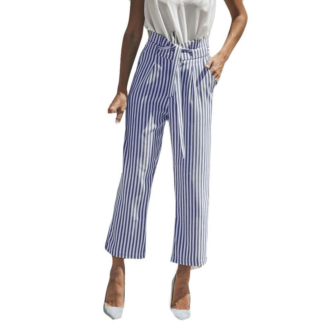 BCDshop Pants Women High Waist Elegant Belted Trousers Lady Stripe Fashion Wide Leg Pocket Pants (Blue, US Size 14)