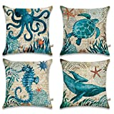 "beach cottage decor ONWAY Ocean Park Cotton Linen Theme Decorative Pillow Cover Case 18"" X 18"" Square Shape-Ocean-Beach-sea-Print-Starfish-Seahorse-Voyage, 4 Pack (Sea 1)"