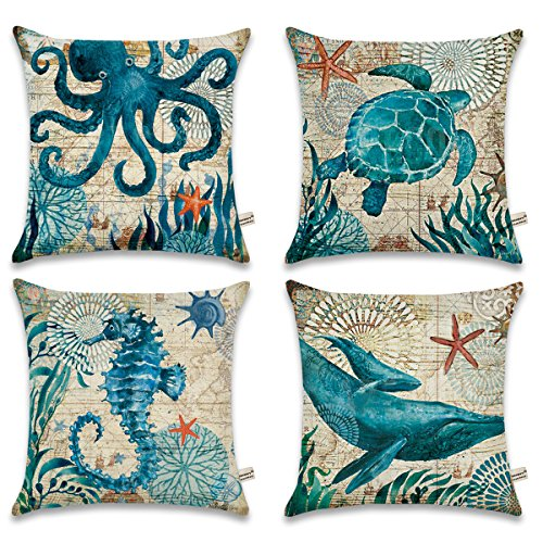 "ONWAY Ocean Park Cotton Linen Theme Decorative Pillow Cover Case 18"" X 18"" Square Shape-Ocean-Beach-sea-Print-Starfish-Seahorse-Voyage, 4 Pack (Sea 1)"
