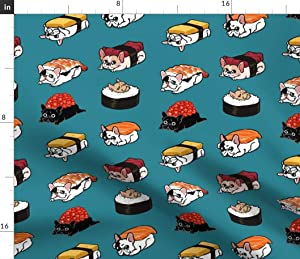 Spoonflower Fabric - Sushi Frenchie French Bulldog Japan Food Cute Kitchen Japanese Funny Printed on Minky Fabric by The Yard - Sewing Baby Blankets Quilt Backing Plush Toys